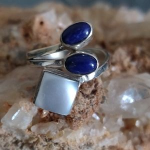 Jewelry - Pearl and Lapis Lazuli Sterling Silver Ring